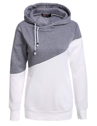Gray & White Patchwork Hoodie
