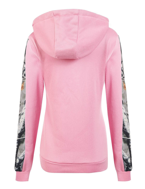 Pink Abstract Patchwork Hoodie