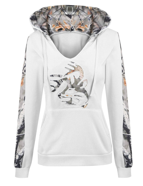 White Abstract Patchwork Hoodie