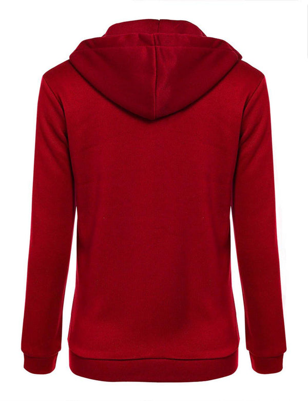 Wine Red Zipper Hoodie