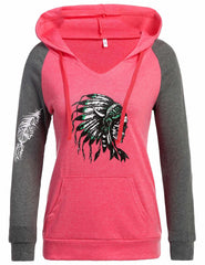 Red V-Neck Indians Hoodie