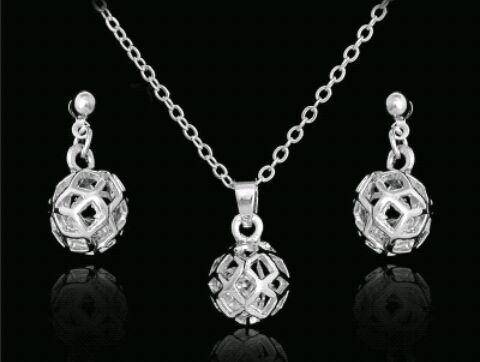 Hallow Ball Necklace and Earring Set