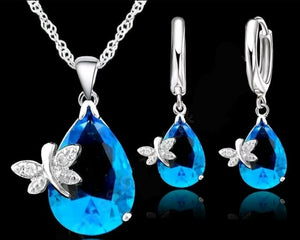 Sterling Silver Blue Teardrop Butterfly Necklace and Earring Set