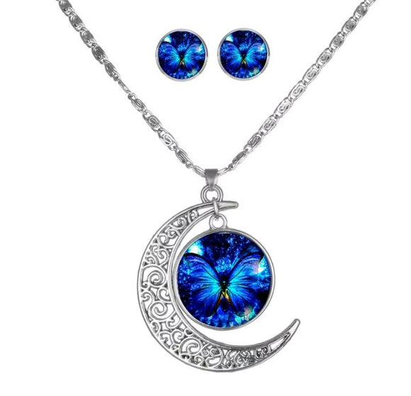 Brilliant Blue Butterfly Crescent Moon Necklace and Earring Set