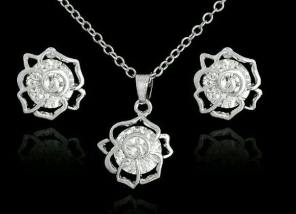 Hallow Rose CZ Necklace and Earring Set
