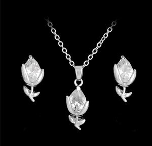 Silver/Gold CZ Flower Necklace and Earring Set