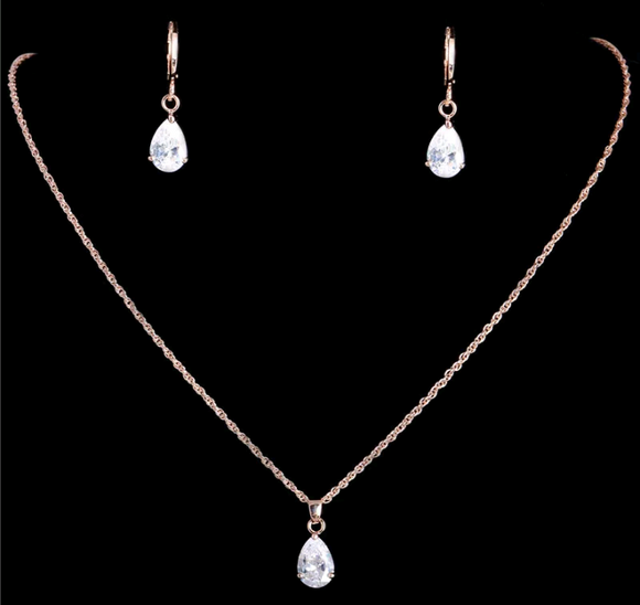 Rose Gold CZ Diamond Necklace and Earring Set