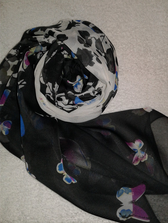 Black and White Chiffon Butterfly Scarf