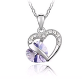 Double Heart Rhinestone Necklaces