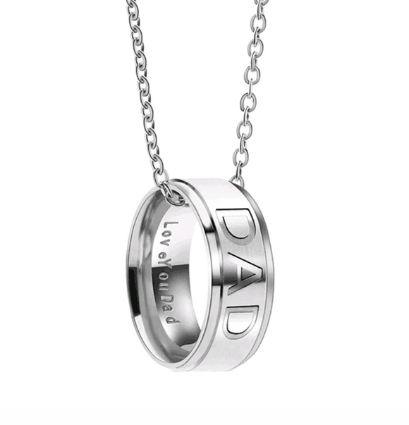 Engraved Dad Ring Necklace