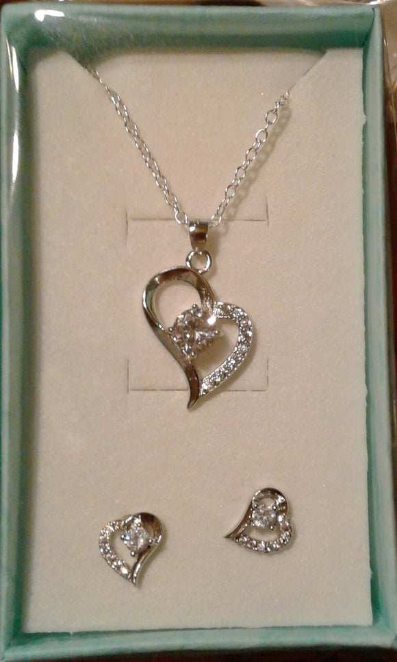 Sterling Silver Heart Pendant Necklace and Earring Set