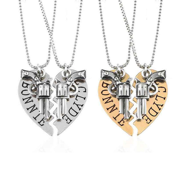 Bonnie and Clyde Couples Necklaces