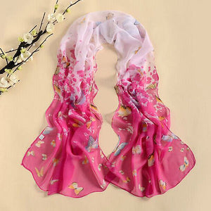 Dark Pink and White Long Butterfly scarf