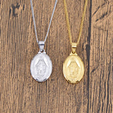 Virgin Mary Medallion Pendant Necklace