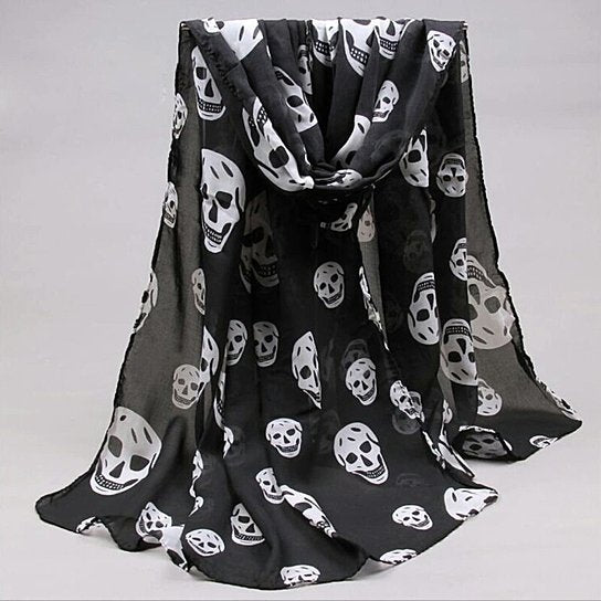 Black and White Chiffon Skull Scarf