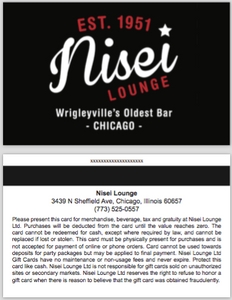 $25.00 Nisei Lounge Gift Card