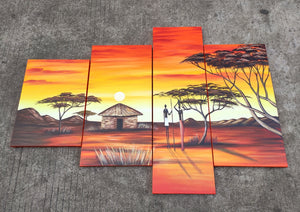 Painting Samples of Abstract Art, 4 Piece Canvas Painting, African Woman Village Sunset Painting, Buy Art Online