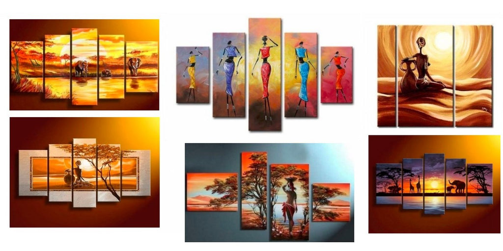 Beautiful African Landscape Paintings, African Woman Paintings, Acrylic African Wall Paintings
