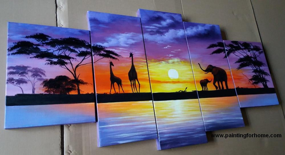 Painting Samples of African Painting, Sunset Painting, Abstract Art
