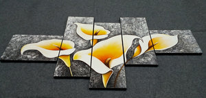 Painting Samples of Calla Lily Flower Painting, 5 Piece Canvas Painting