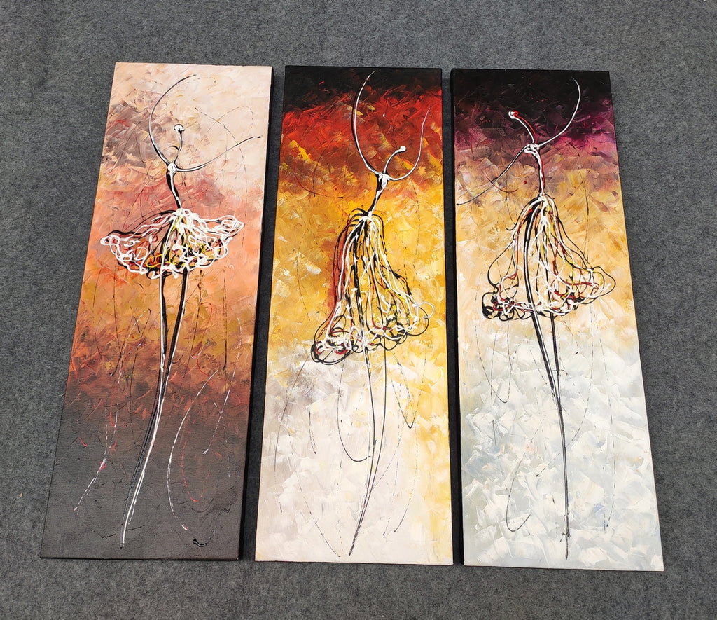 Painting Samples of Ballet Dancers Painting, 3 Piece Canvas Art, Acrylic Painting for Bedroom