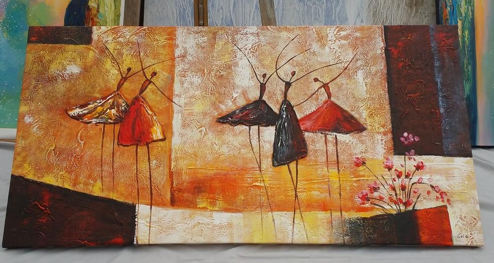 Ballet Dancers Painting, Abstract Wall Art 24x48 inch