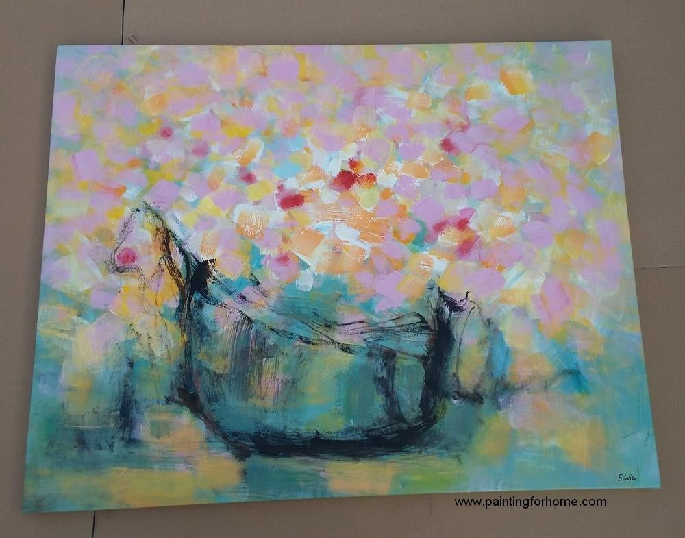 Flower Painting, Hand Painted Art Painting, Oil Painting for Bedroom