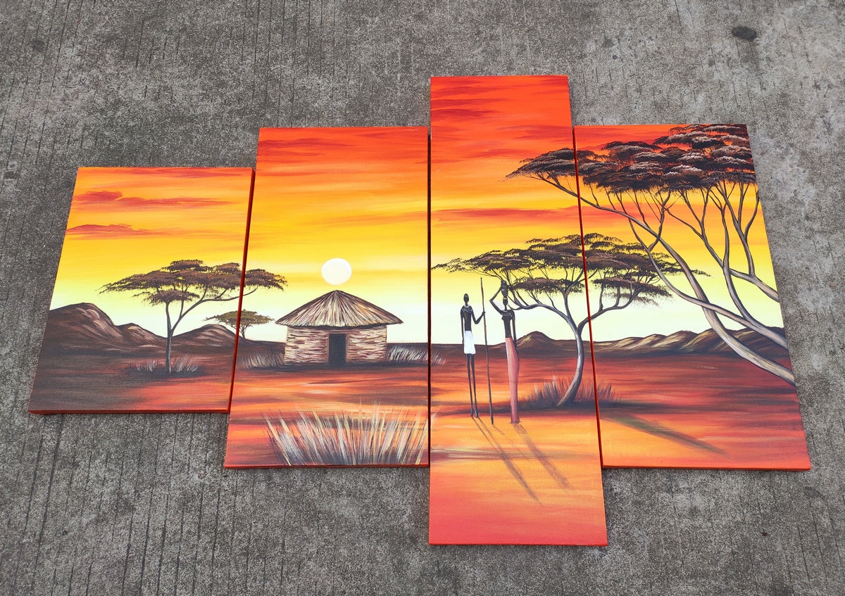African Painting, Oil Painting for Sale, African Woman Village Sunset Painting, Buy Art Online