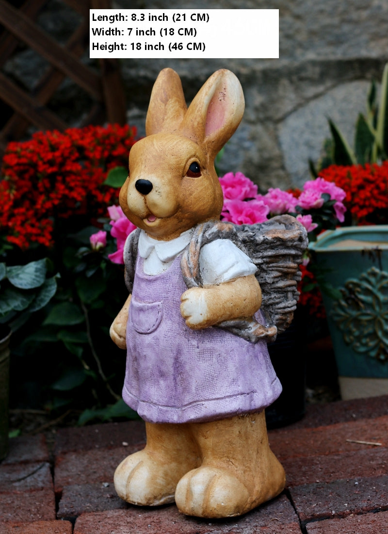 Rabbit Statues, Bunny Flower Pot, Garden Courtyard Decoration, Villa Outdoor Decor Gardening Ideas