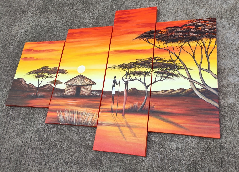 4 Piece Canvas Art Sets, 72 Inch Abstract Wall Art, African Woman Painting, Buy Paintings Online