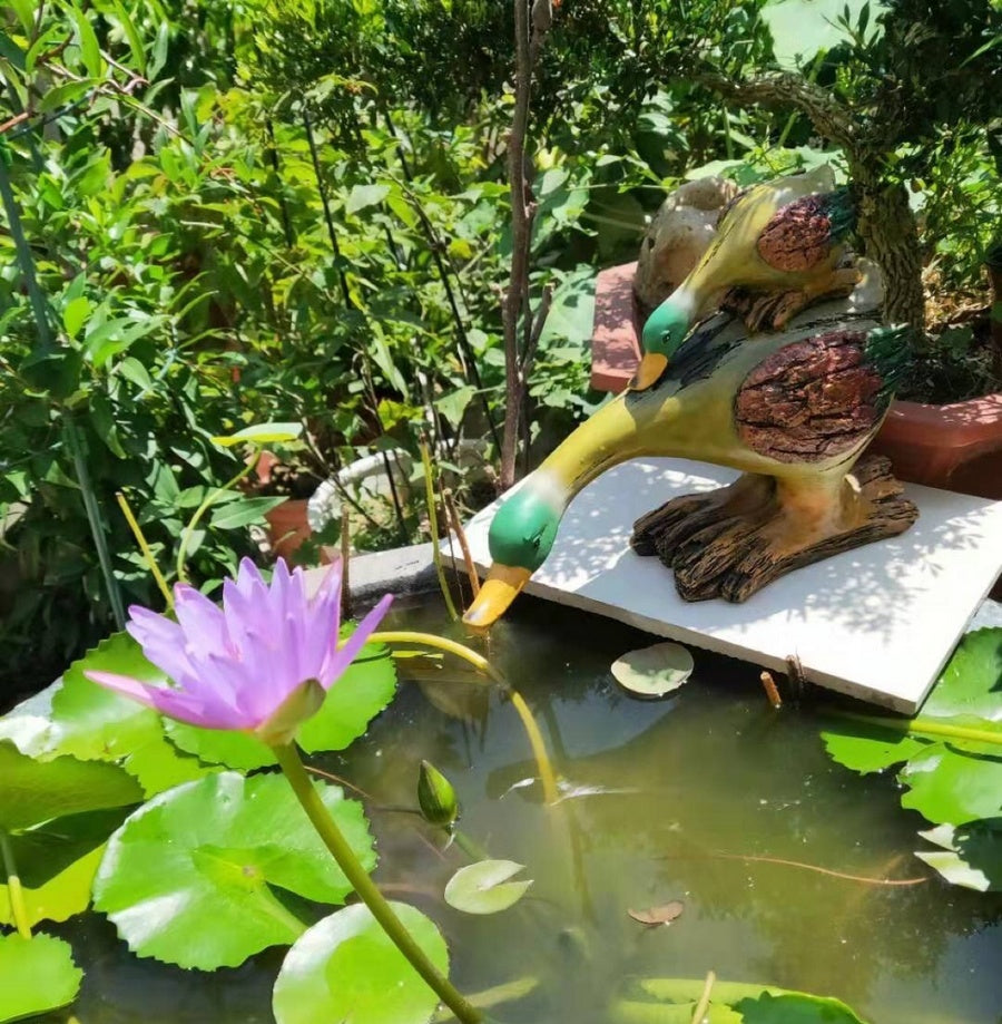 Garden Water Pool Mother and Baby Ducks Statue, Animal Statue for Garden