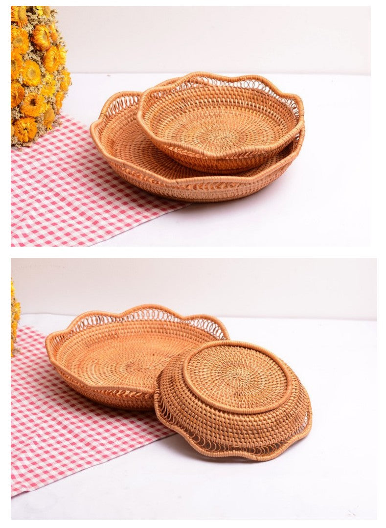 Cute Rattan Basket, Fruit Basket, Handmade Round Basket, Storage Baskets for Kitchen and Dining Room