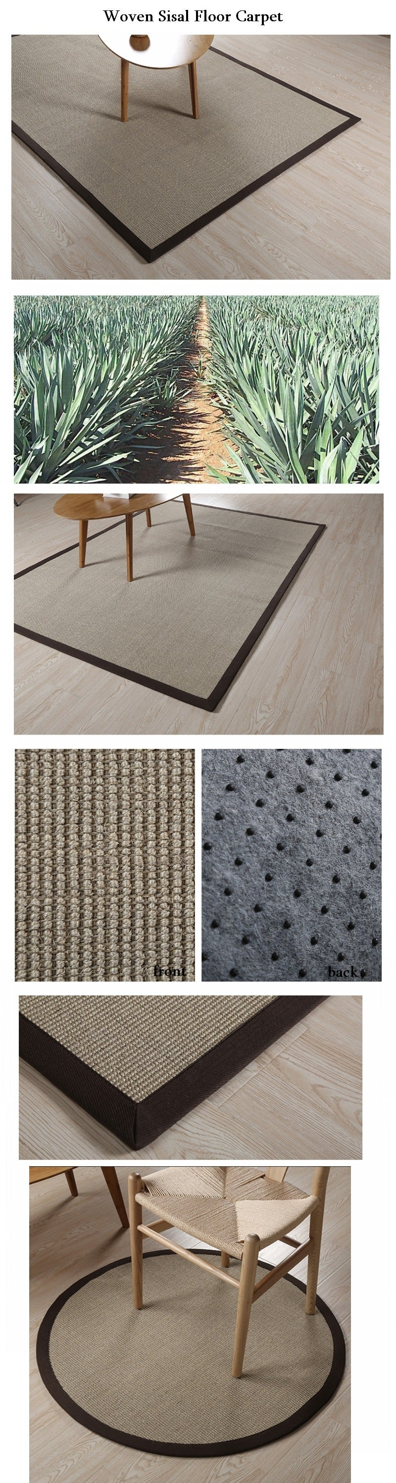 Floor Carpet and Rugs for Dining Room and Bedroom, Large Sisal Carpet, Woven Floor Carpet