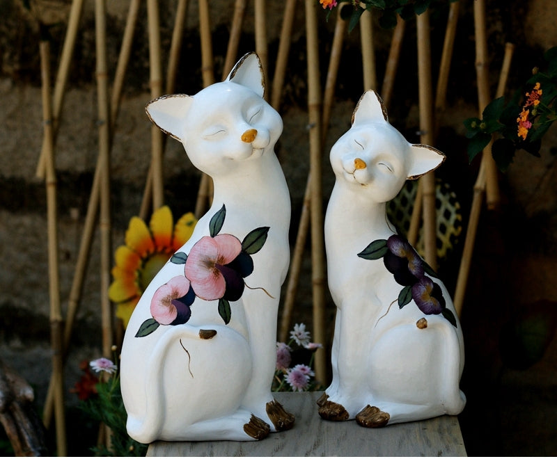 Lovely Cat Statues, Sitting Cats Resin Statues, Villa Outdoor Decor Gardening Ideas, Garden Courtyard Decoration, House Warming Gift