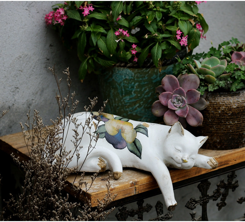 Lovely Cat Statues, Sleeping Cats Resin Statues, Garden Courtyard Decoration, Villa Outdoor Decor Gardening Ideas, House Warming Gift