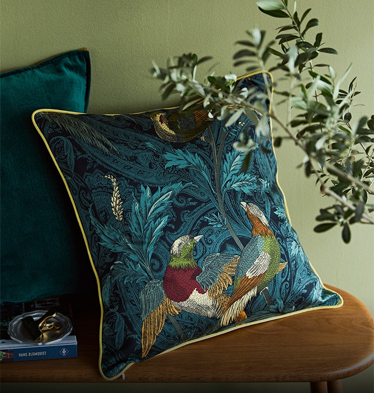 Nightingales Cotton Pillow Cover, Holiday Decorative Throw Pillow, Sofa Pillows, Home Decoration