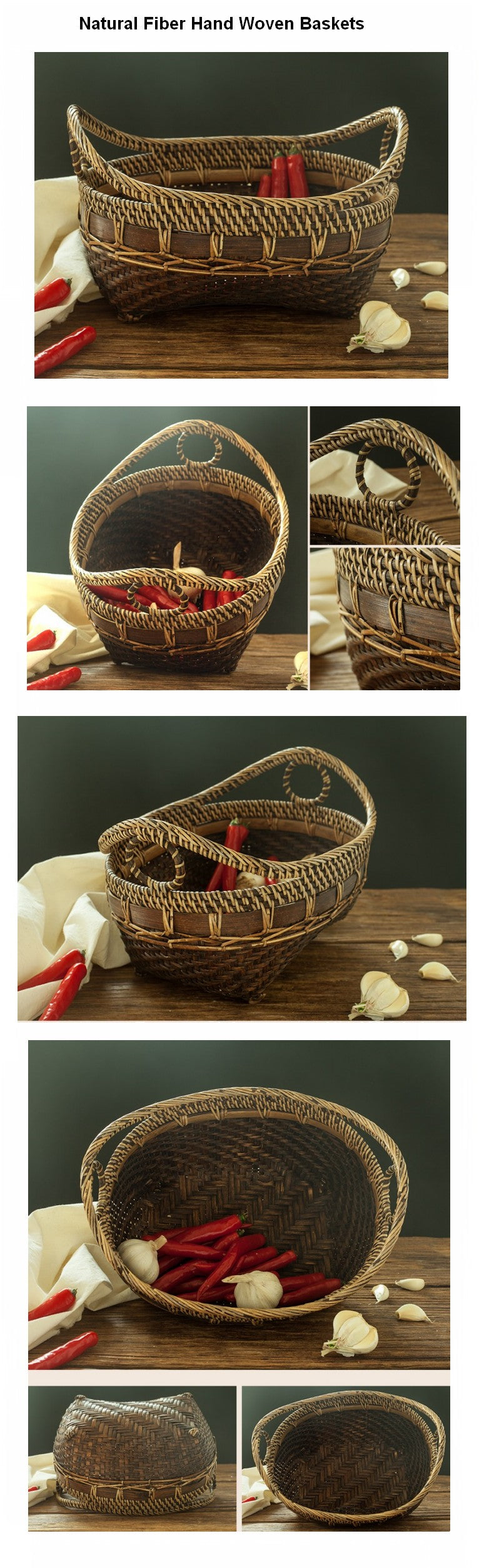 Natural Bamboo Baskets, Small Rustic Basket