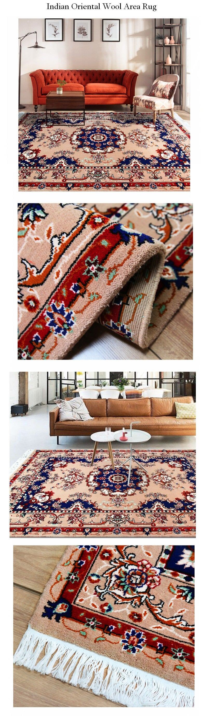 Bohemia Oriental Area Rug, New Zealand Wool Woven Floor Carpet and Rugs