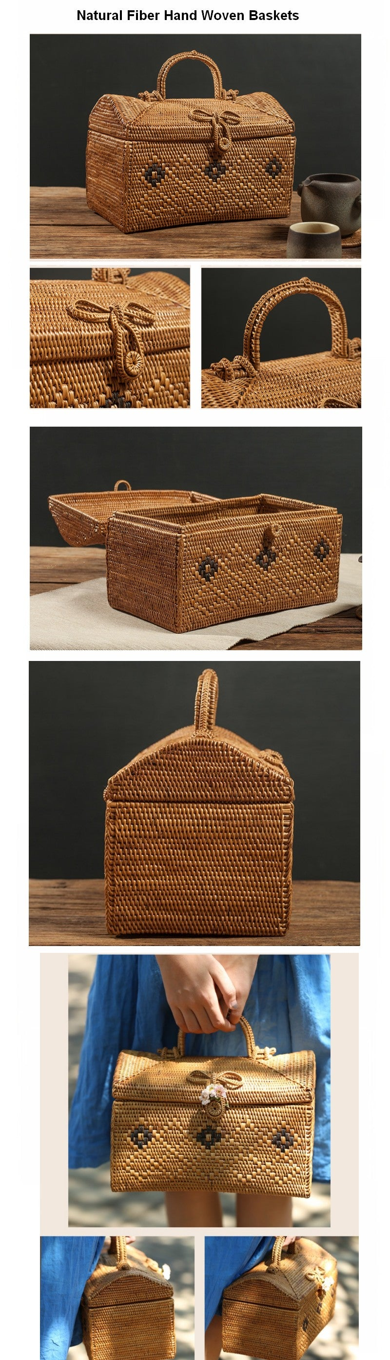 Indonesia Hand Woven Storage Basket with Handle