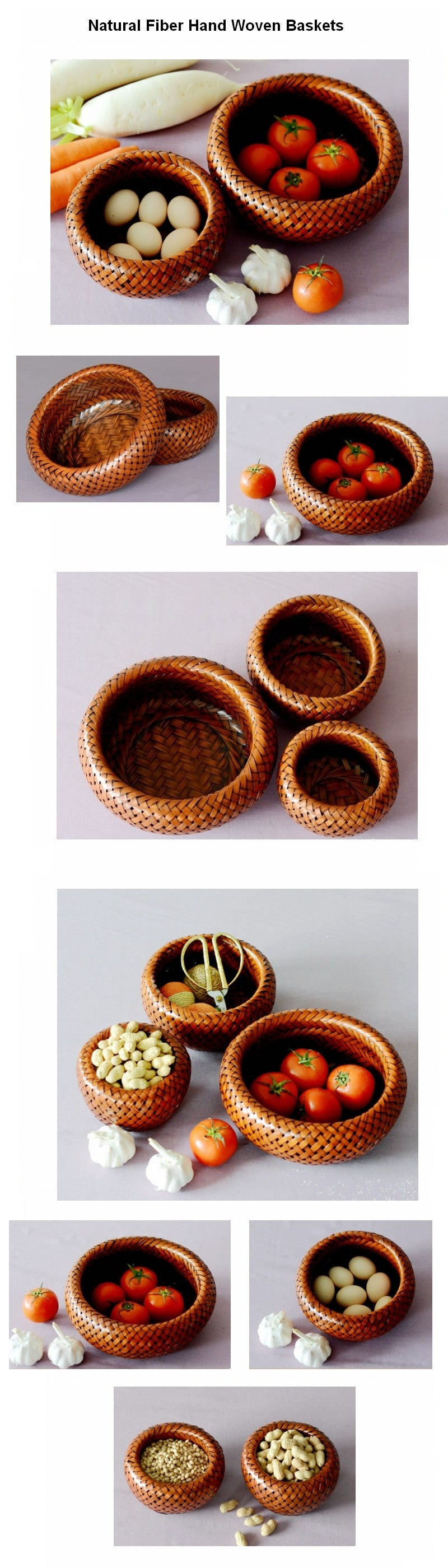 Natural Bamboo Basket, Small Rustic Basket, Hand Woven Snap Basket