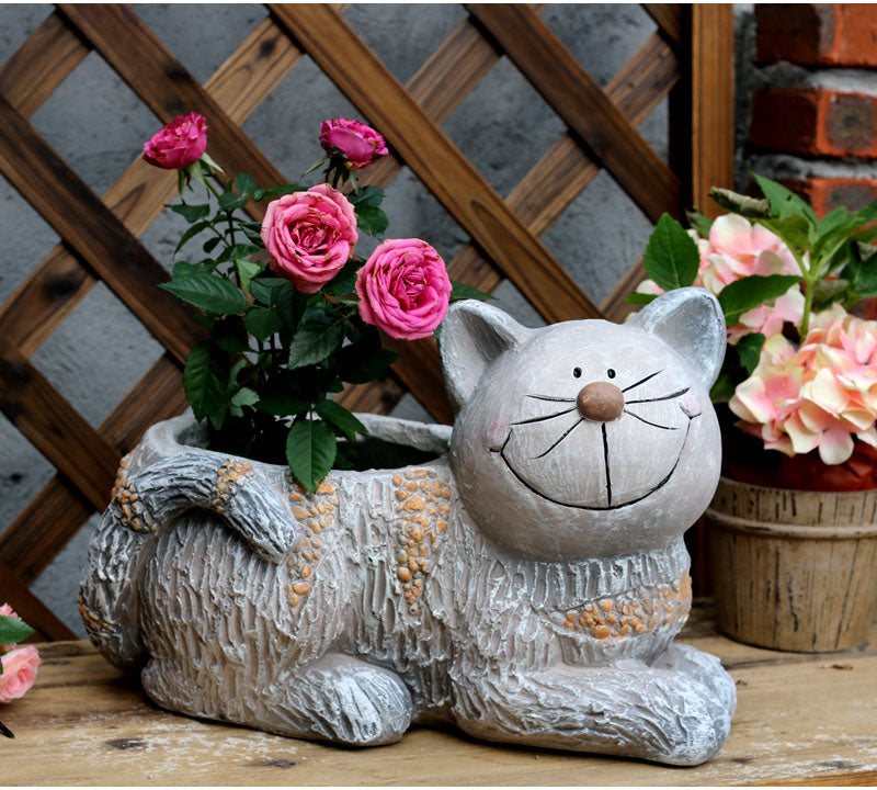Cat Statue, Sitting Cat Flower Pot Statue, Pet Statue for Garden Courtyard Decoration, Villa Outdoor Decor Gardening Ideas