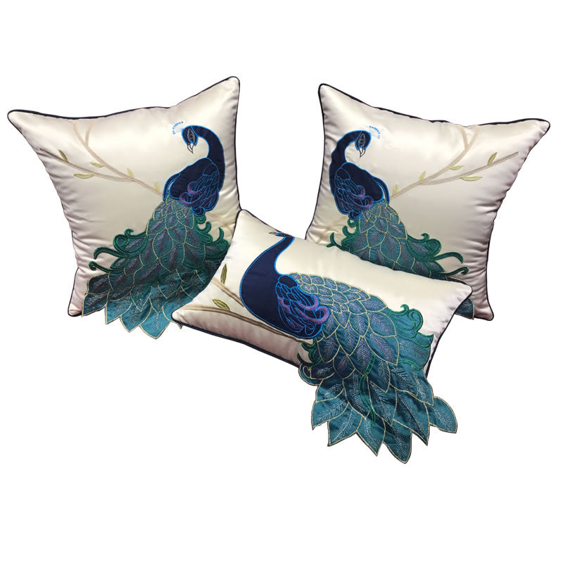 Embroider Peacock Cotton and linen Pillow Cover, Decorative Throw Pillow, Sofa Pillows, Home Decor