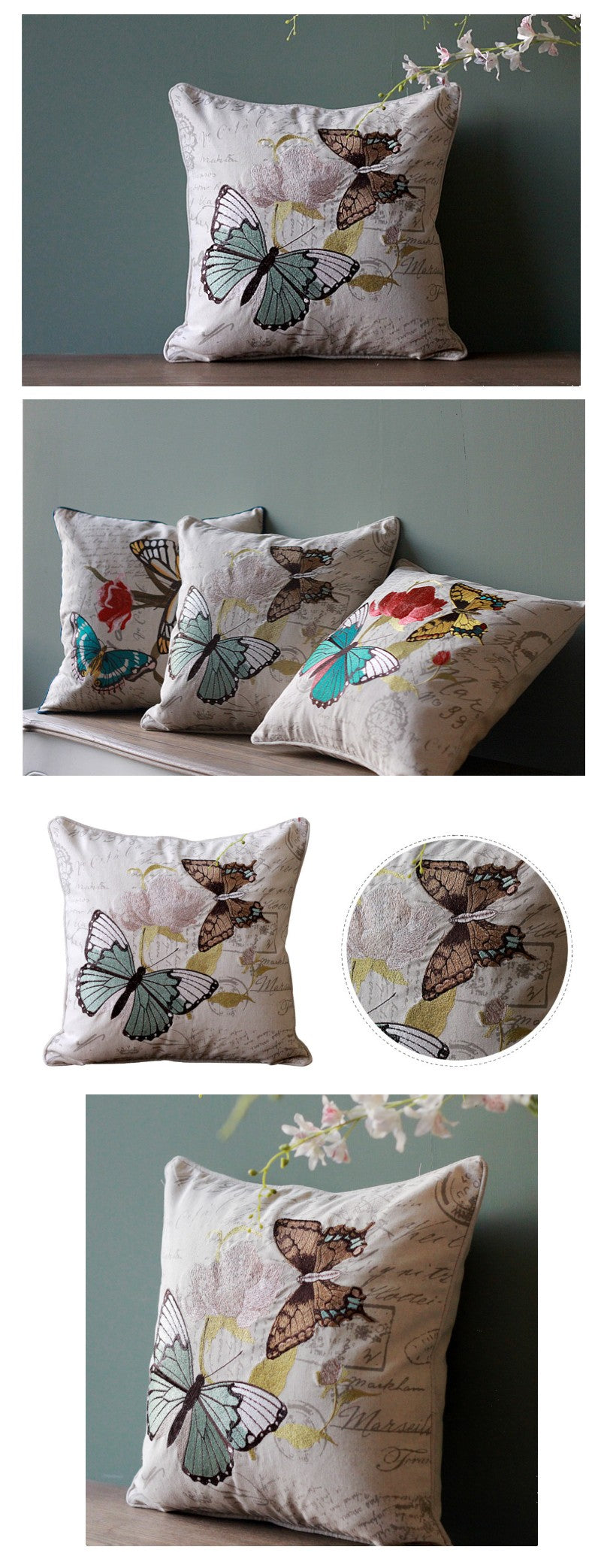 Embroider Butterfly Cotton and linen Pillow Cover, Sofa Pillows, Home Decoration, Decorative Throw Pillow