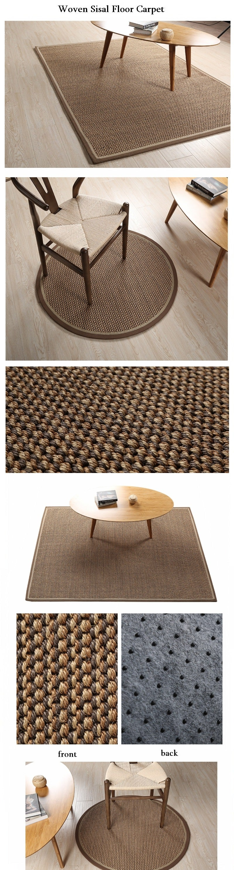 Casual Natural Fiber Natural Sisal Carpet, Rustic Floor Carpet and Rugs