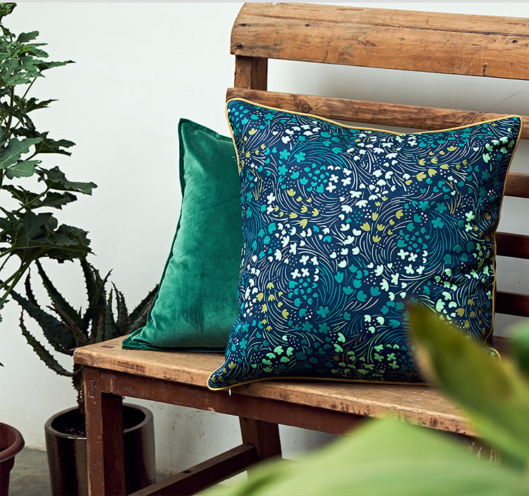 Starry Night and Forest Pattern Cotton Pillow Cover, Home Decorative Throw Pillow, Sofa Pillows, Home Decoration