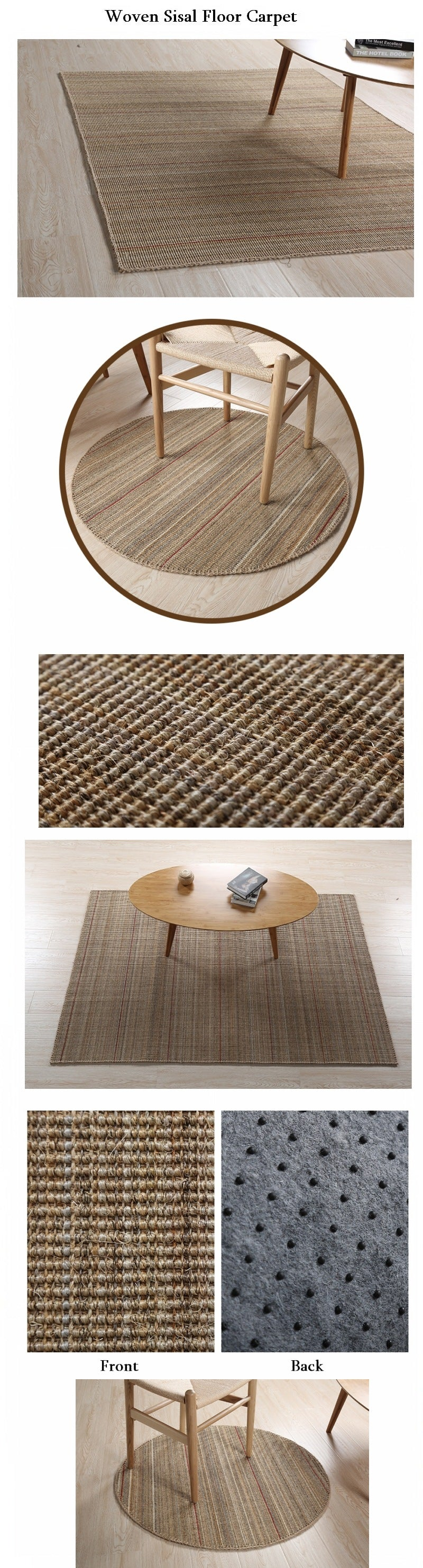 Casual Natural Fiber Natural Floor Carpet and Rugs, Rustic Woven Floor Carpet