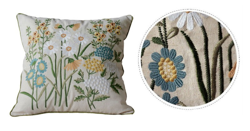 Embroider Flower Cotton and linen Pillow Cover, Decorative Throw Pillow