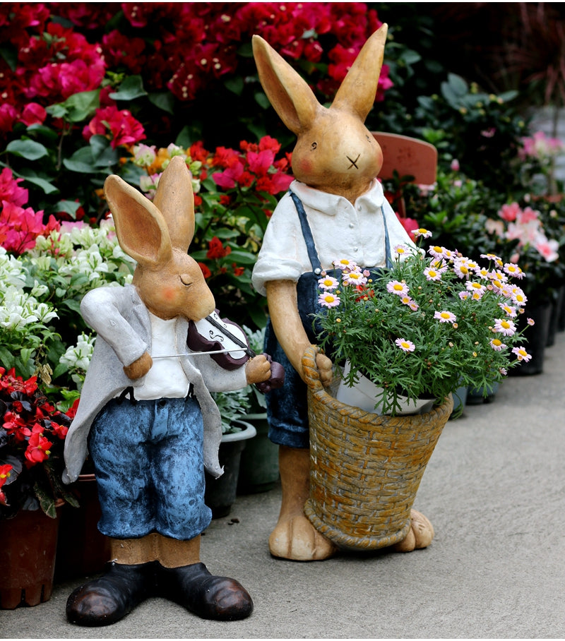 Rabbit Statues, Bunny Flower Pot, Garden Courtyard Decoration, Villa Outdoor Decor Gardening Ideas, House Warming Gift
