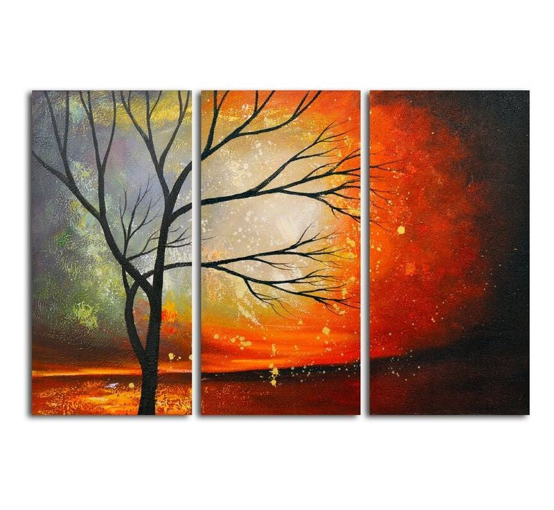 Acrylic Painting on Canvas, Hand Painted Wall Art Paintings, Tree of Life Painting, Large Paintings for Bedroom