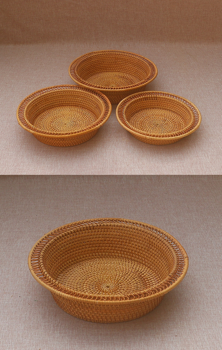 Rattan Basket, Fruit Basket, Handmade Round Basket, Storage Baskets, Rustic Baskets